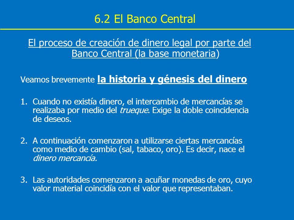 6.2 El Banco Central El proceso de creación de dinero legal por parte del Banco Central (la base monetaria) Veamos brevemente la historia y génesis de