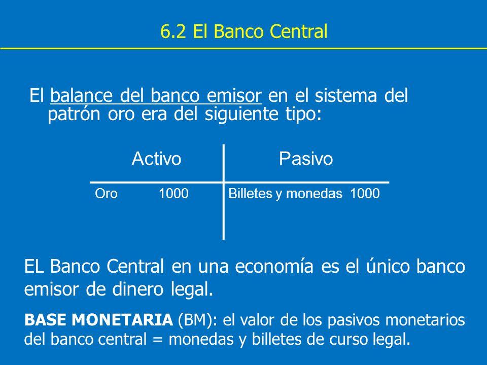 6.2 El Banco Central El balance del banco emisor en el sistema del patrón oro era del siguiente tipo: ActivoPasivo Oro 1000Billetes y monedas 1000 EL