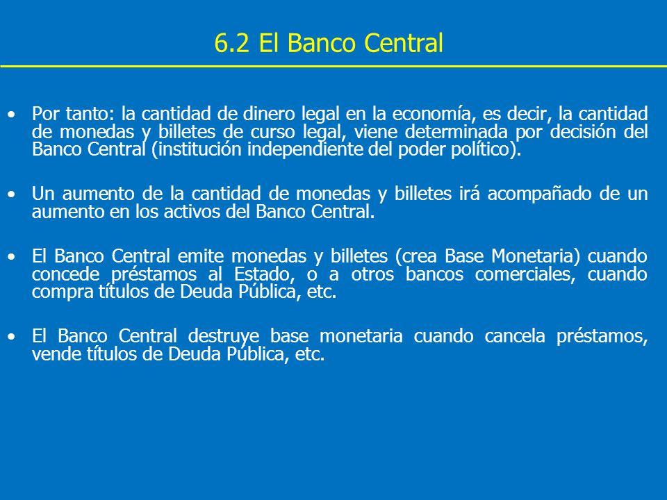 6.2 El Banco Central Por tanto: la cantidad de dinero legal en la economía, es decir, la cantidad de monedas y billetes de curso legal, viene determin