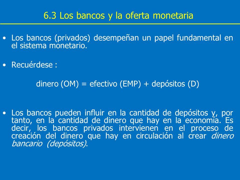 6.3 Los bancos y la oferta monetaria Los bancos (privados) desempeñan un papel fundamental en el sistema monetario. Recuérdese : dinero (OM) = efectiv