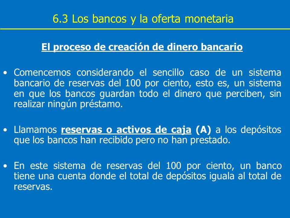 6.3 Los bancos y la oferta monetaria El proceso de creación de dinero bancario Comencemos considerando el sencillo caso de un sistema bancario de rese