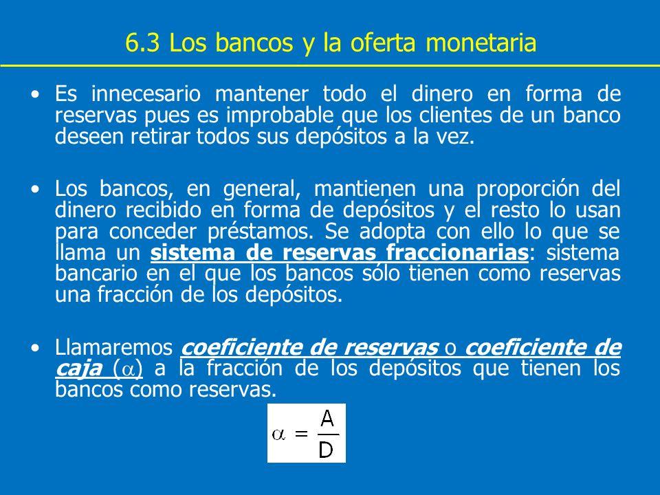 6.3 Los bancos y la oferta monetaria Es innecesario mantener todo el dinero en forma de reservas pues es improbable que los clientes de un banco desee