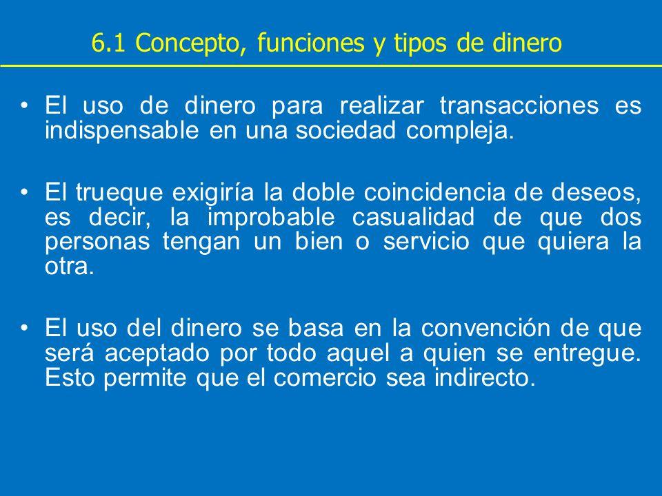 6.1 Concepto, funciones y tipos de dinero El uso de dinero para realizar transacciones es indispensable en una sociedad compleja. El trueque exigiría