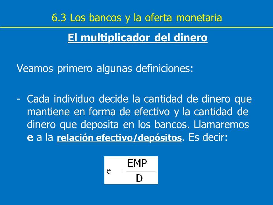 6.3 Los bancos y la oferta monetaria El multiplicador del dinero Veamos primero algunas definiciones: -Cada individuo decide la cantidad de dinero que