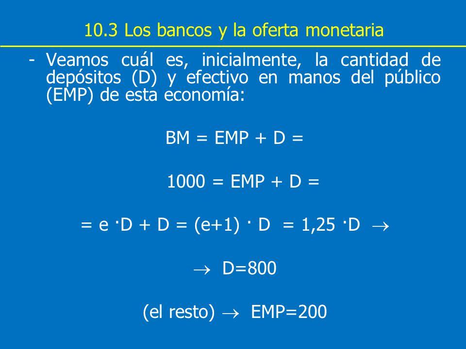 10.3 Los bancos y la oferta monetaria -Veamos cuál es, inicialmente, la cantidad de depósitos (D) y efectivo en manos del público (EMP) de esta econom