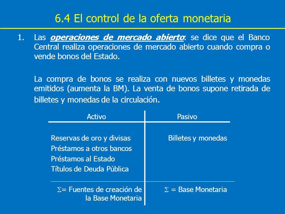 6.4 El control de la oferta monetaria 1.Las operaciones de mercado abierto: se dice que el Banco Central realiza operaciones de mercado abierto cuando