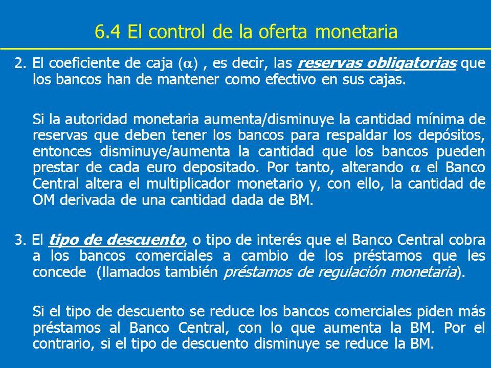 6.4 El control de la oferta monetaria 2. El coeficiente de caja ( ), es decir, las reservas obligatorias que los bancos han de mantener como efectivo