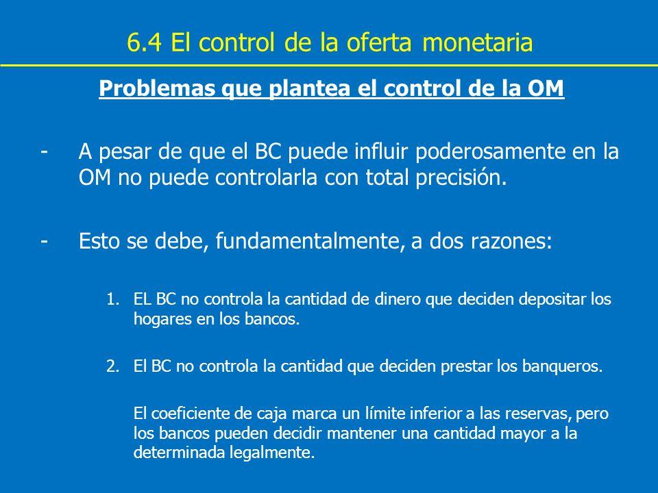 6.4 El control de la oferta monetaria Problemas que plantea el control de la OM -A pesar de que el BC puede influir poderosamente en la OM no puede co