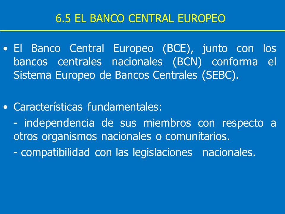 6.5 EL BANCO CENTRAL EUROPEO El Banco Central Europeo (BCE), junto con los bancos centrales nacionales (BCN) conforma el Sistema Europeo de Bancos Cen