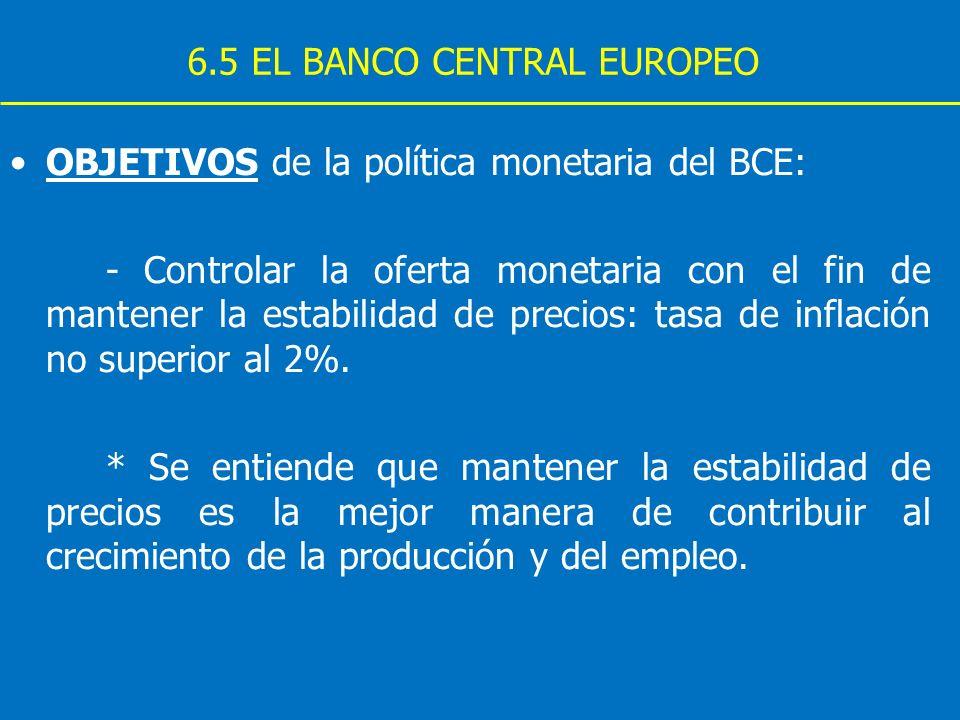 6.5 EL BANCO CENTRAL EUROPEO OBJETIVOS de la política monetaria del BCE: - Controlar la oferta monetaria con el fin de mantener la estabilidad de prec