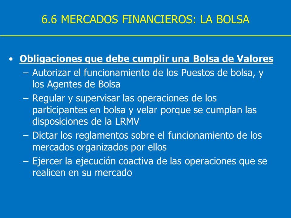 6.6 MERCADOS FINANCIEROS: LA BOLSA Obligaciones que debe cumplir una Bolsa de Valores –Autorizar el funcionamiento de los Puestos de bolsa, y los Agen