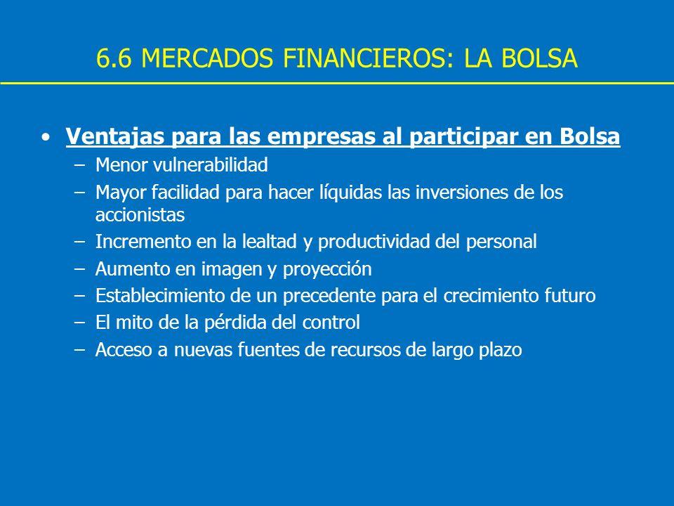 6.6 MERCADOS FINANCIEROS: LA BOLSA Ventajas para las empresas al participar en Bolsa –Menor vulnerabilidad –Mayor facilidad para hacer líquidas las in