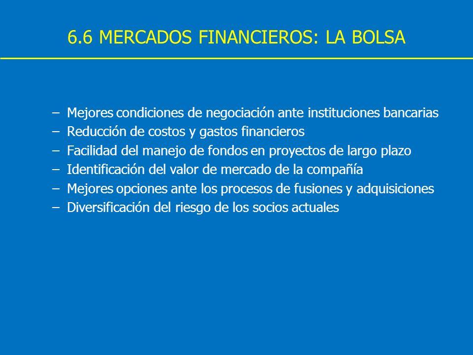 6.6 MERCADOS FINANCIEROS: LA BOLSA –Mejores condiciones de negociación ante instituciones bancarias –Reducción de costos y gastos financieros –Facilid