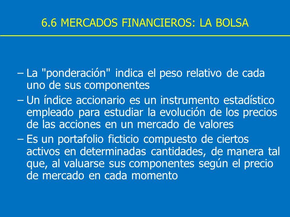 6.6 MERCADOS FINANCIEROS: LA BOLSA –La