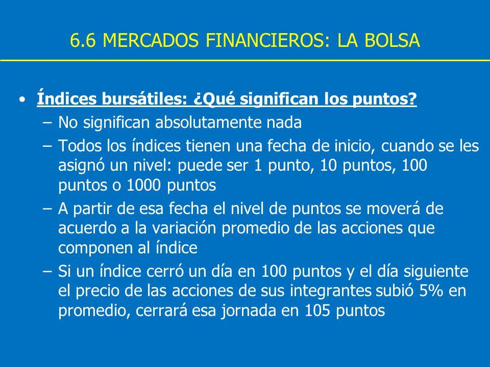 6.6 MERCADOS FINANCIEROS: LA BOLSA Índices bursátiles: ¿Qué significan los puntos? –No significan absolutamente nada –Todos los índices tienen una fec