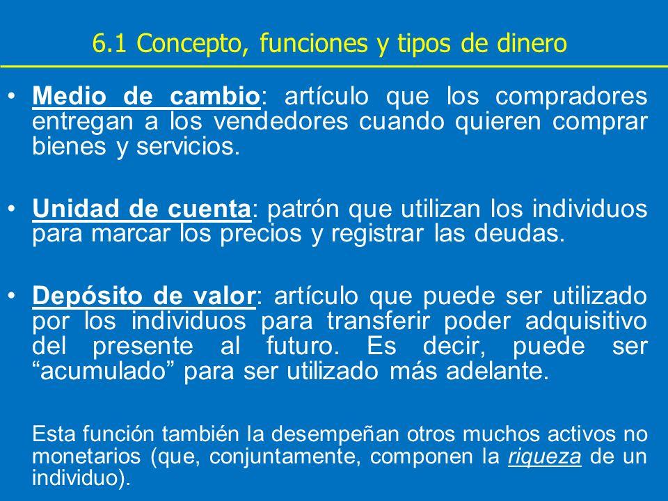 6.1 Concepto, funciones y tipos de dinero Medio de cambio: artículo que los compradores entregan a los vendedores cuando quieren comprar bienes y serv