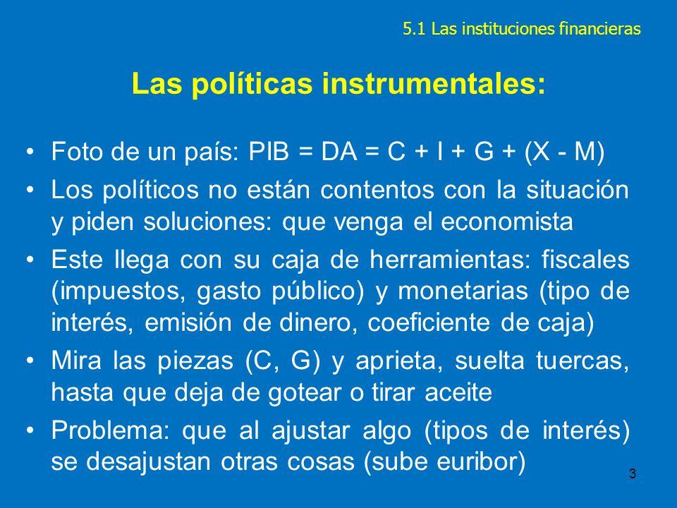 4 LA POLITICA ECONOMICA Son las decisiones que toma el Estado para intervenir en la ECONOMIA de un país para alcanzar unos objetivos: 1.