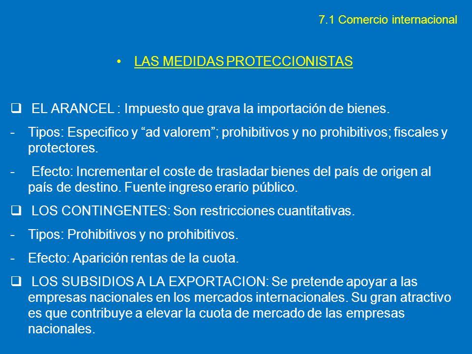 LAS MEDIDAS PROTECCIONISTAS EL ARANCEL : Impuesto que grava la importación de bienes. -Tipos: Especifico y ad valorem; prohibitivos y no prohibitivos;