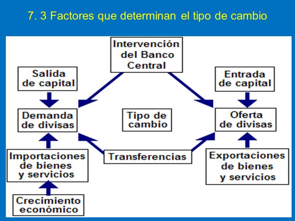 7. 3 Factores que determinan el tipo de cambio