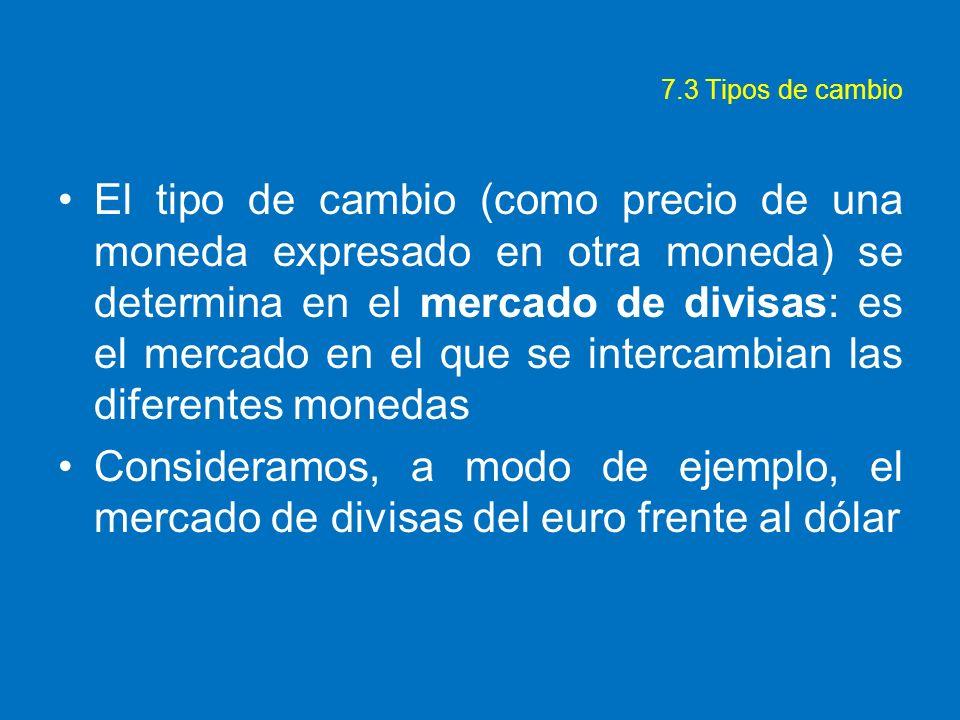7.3 Tipos de cambio El tipo de cambio (como precio de una moneda expresado en otra moneda) se determina en el mercado de divisas: es el mercado en el