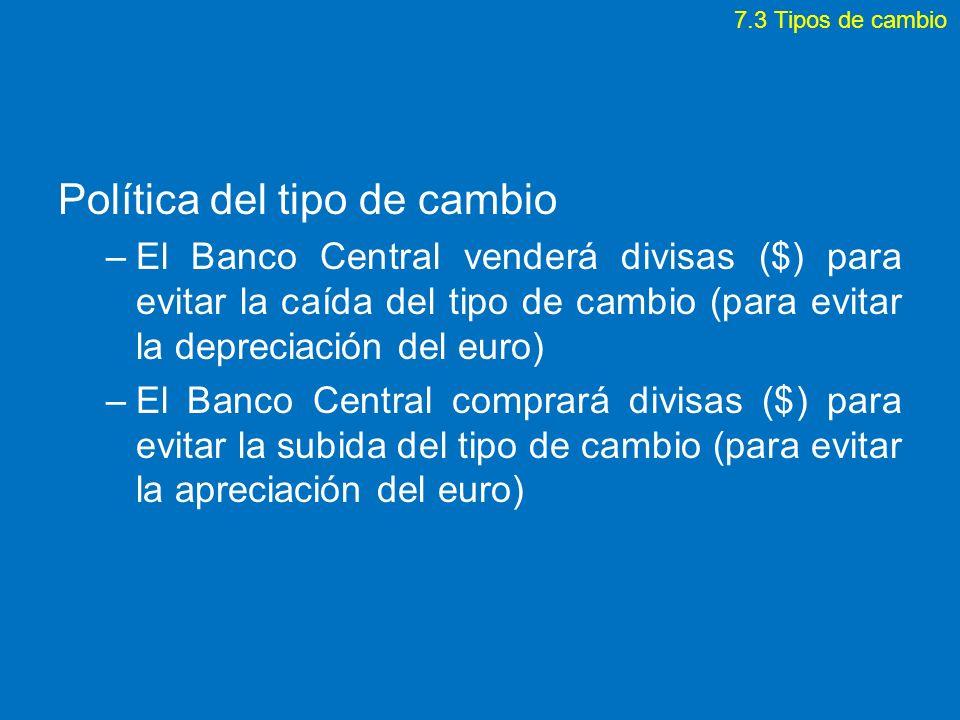 Política del tipo de cambio –El Banco Central venderá divisas ($) para evitar la caída del tipo de cambio (para evitar la depreciación del euro) –El B