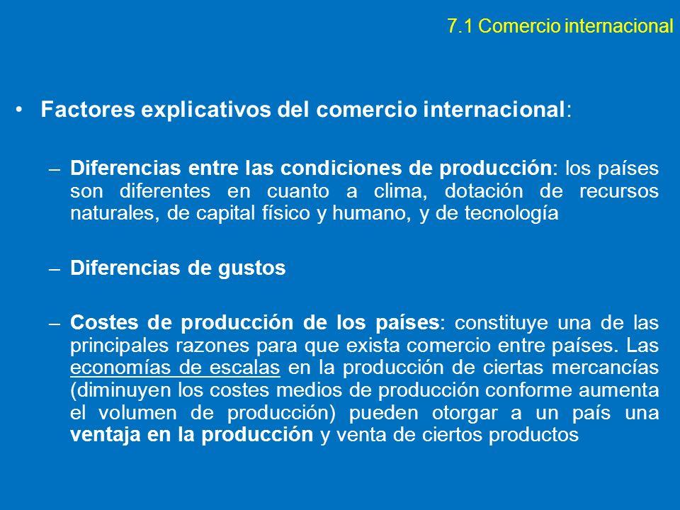7.1 Comercio internacional Factores explicativos del comercio internacional: –Diferencias entre las condiciones de producción: los países son diferent