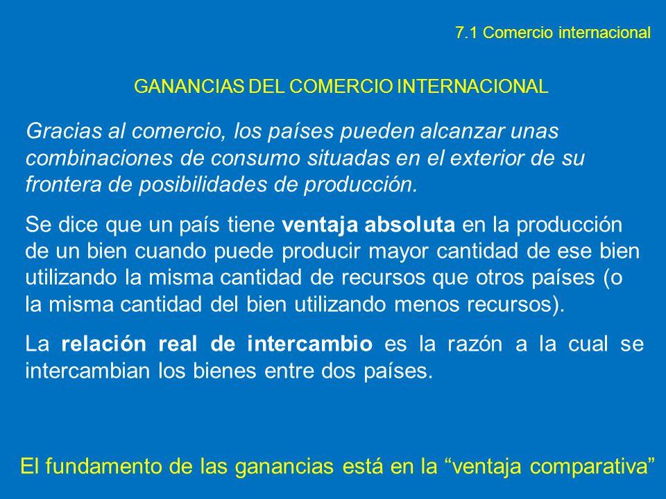 GANANCIAS DEL COMERCIO INTERNACIONAL Gracias al comercio, los países pueden alcanzar unas combinaciones de consumo situadas en el exterior de su front