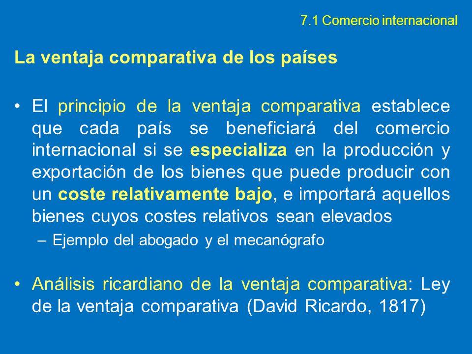 La ventaja comparativa de los países El principio de la ventaja comparativa establece que cada país se beneficiará del comercio internacional si se es