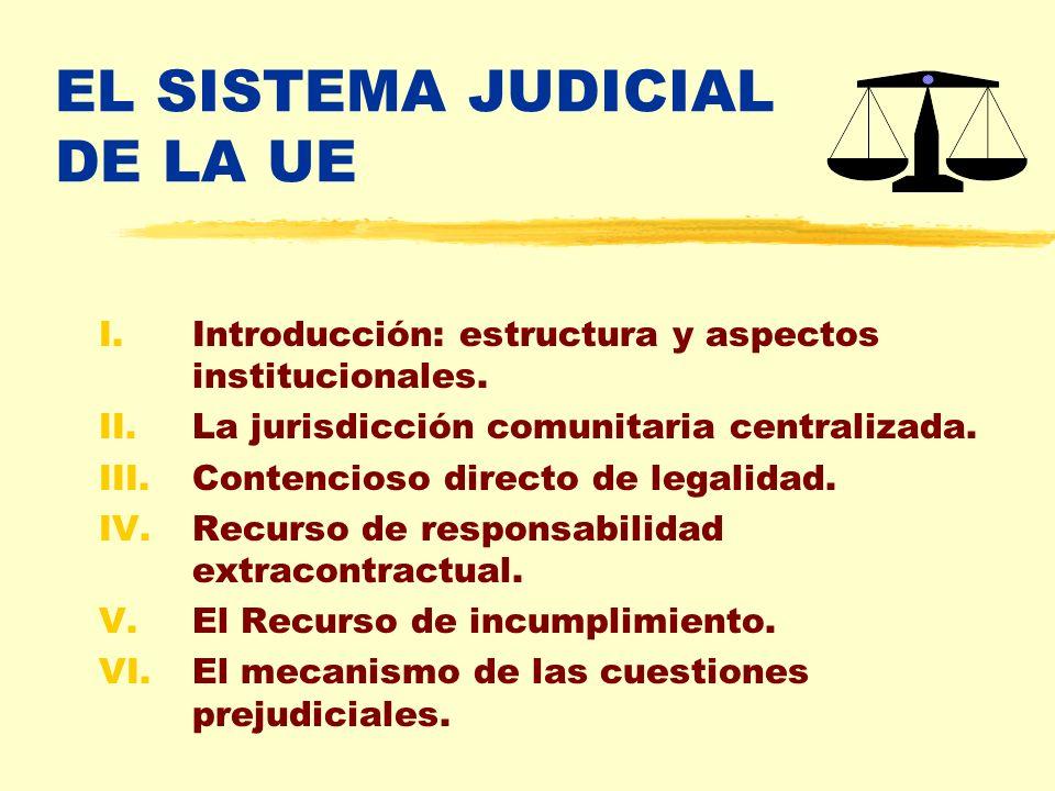 EL SISTEMA JUDICIAL DE LA UE I.Introducción: estructura y aspectos institucionales. II.La jurisdicción comunitaria centralizada. III.Contencioso direc