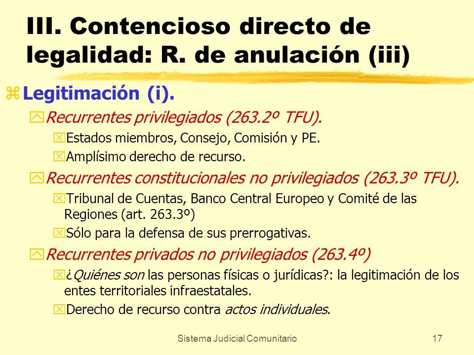 Sistema Judicial Comunitario17 III. Contencioso directo de legalidad: R. de anulación (iii) zLegitimación (i). yRecurrentes privilegiados (263.2º TFU)