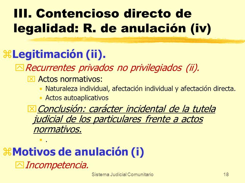 Sistema Judicial Comunitario18 III. Contencioso directo de legalidad: R. de anulación (iv) zLegitimación (ii). yRecurrentes privados no privilegiados