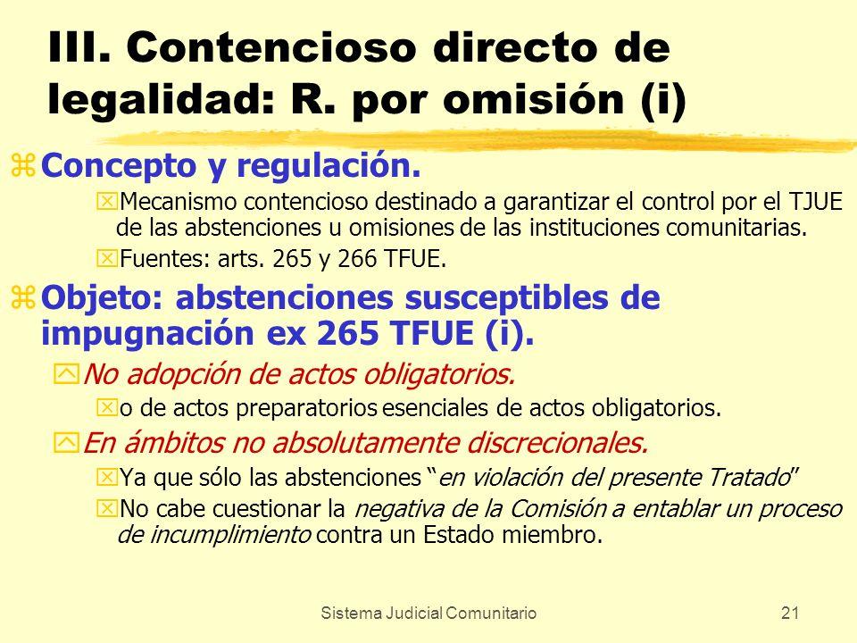 Sistema Judicial Comunitario21 III. Contencioso directo de legalidad: R. por omisión (i) zConcepto y regulación. xMecanismo contencioso destinado a ga