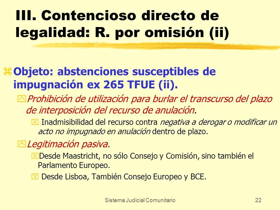 Sistema Judicial Comunitario22 III. Contencioso directo de legalidad: R. por omisión (ii) zObjeto: abstenciones susceptibles de impugnación ex 265 TFU