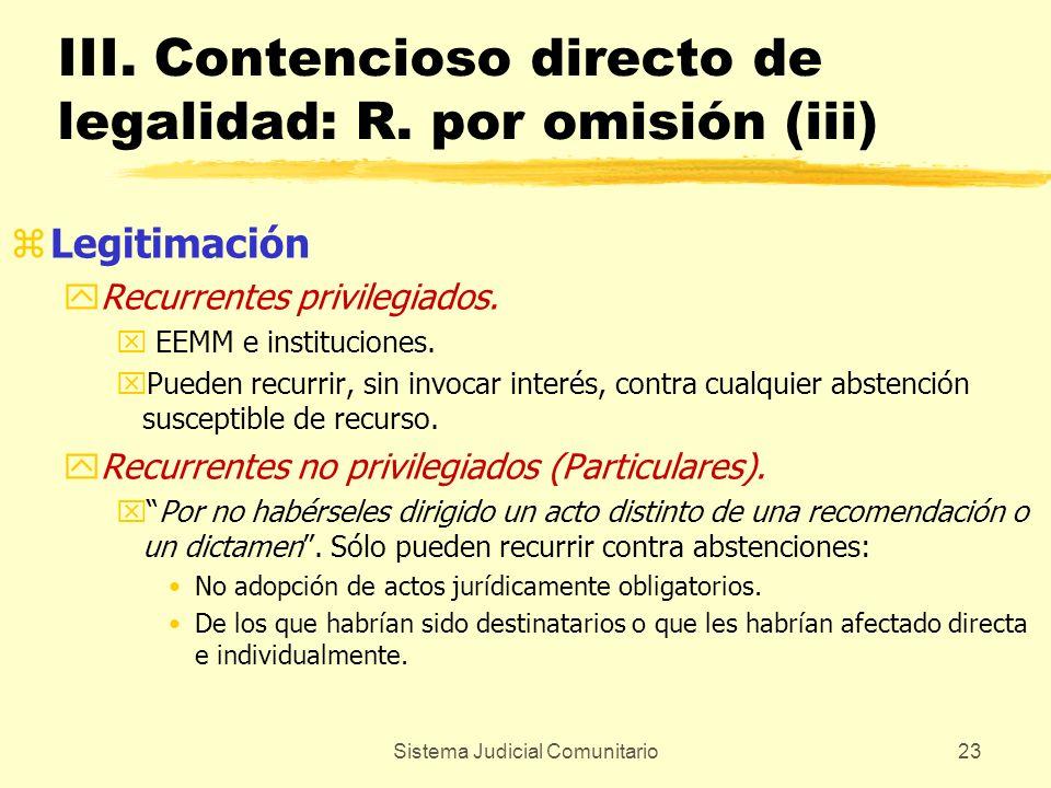 Sistema Judicial Comunitario23 III. Contencioso directo de legalidad: R. por omisión (iii) zLegitimación yRecurrentes privilegiados. x EEMM e instituc