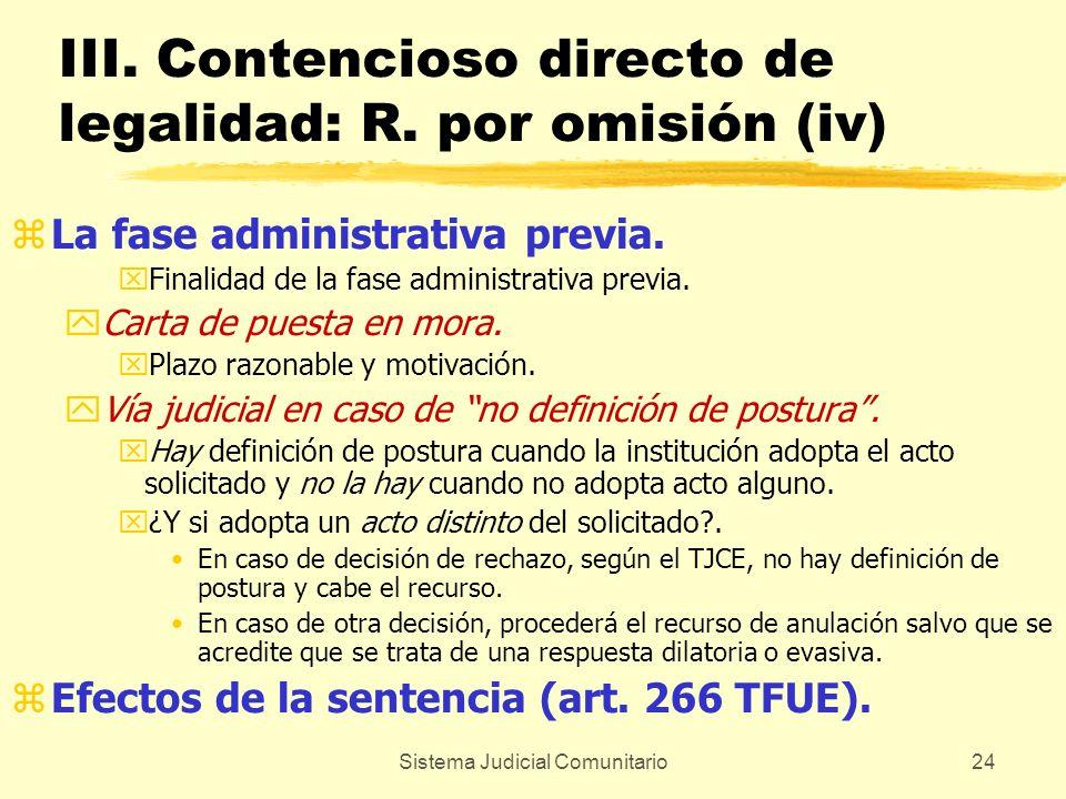Sistema Judicial Comunitario24 III. Contencioso directo de legalidad: R. por omisión (iv) zLa fase administrativa previa. xFinalidad de la fase admini