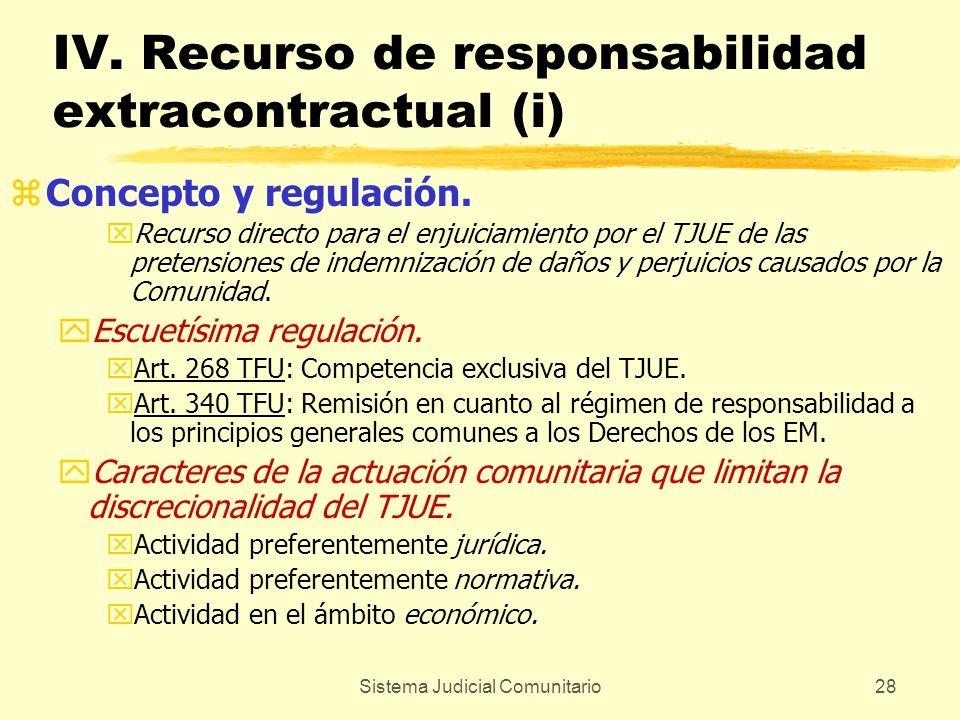 Sistema Judicial Comunitario28 IV. Recurso de responsabilidad extracontractual (i) zConcepto y regulación. xRecurso directo para el enjuiciamiento por