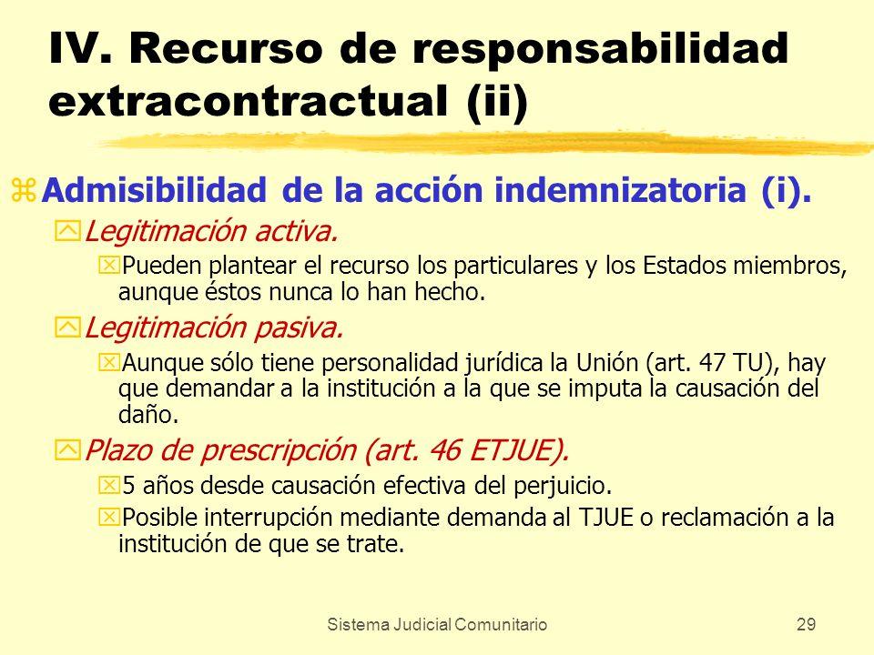 Sistema Judicial Comunitario29 IV. Recurso de responsabilidad extracontractual (ii) zAdmisibilidad de la acción indemnizatoria (i). yLegitimación acti