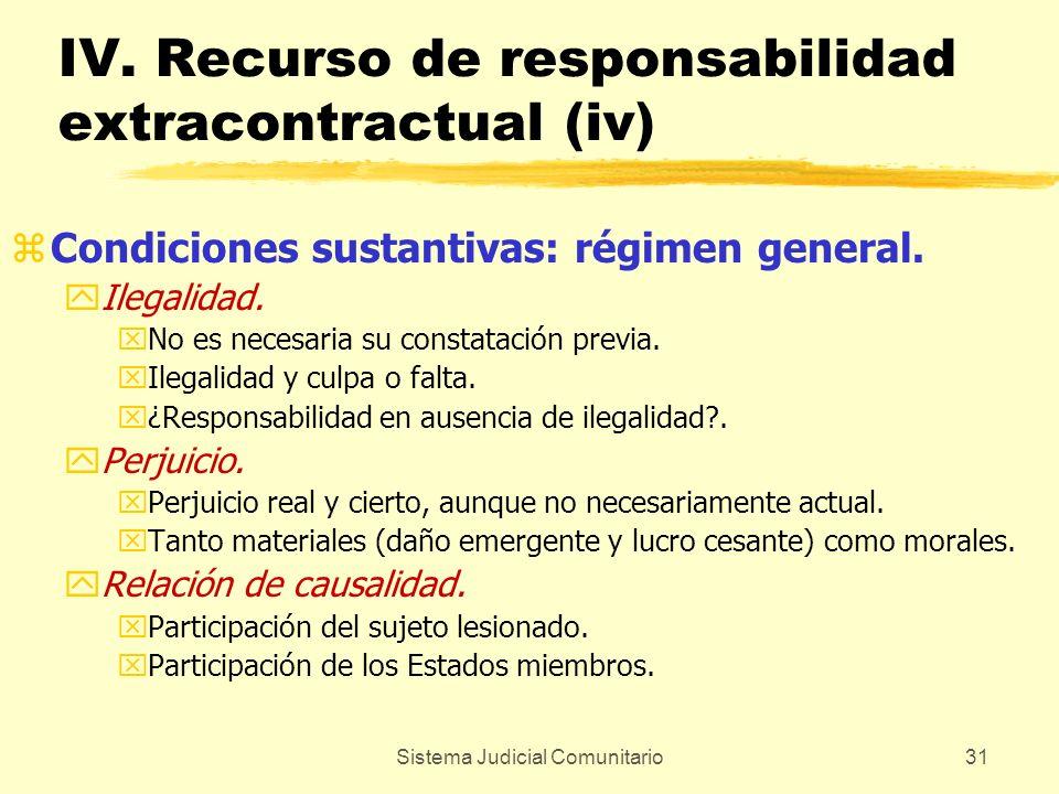 Sistema Judicial Comunitario31 IV. Recurso de responsabilidad extracontractual (iv) zCondiciones sustantivas: régimen general. yIlegalidad. xNo es nec