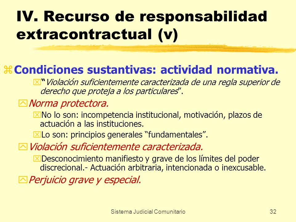 Sistema Judicial Comunitario32 IV. Recurso de responsabilidad extracontractual (v) zCondiciones sustantivas: actividad normativa. xViolación suficient