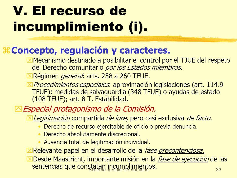 Sistema Judicial Comunitario33 V. El recurso de incumplimiento (i). zConcepto, regulación y caracteres. xMecanismo destinado a posibilitar el control