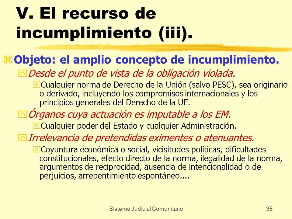 Sistema Judicial Comunitario35 V. El recurso de incumplimiento (iii). zObjeto: el amplio concepto de incumplimiento. yDesde el punto de vista de la ob