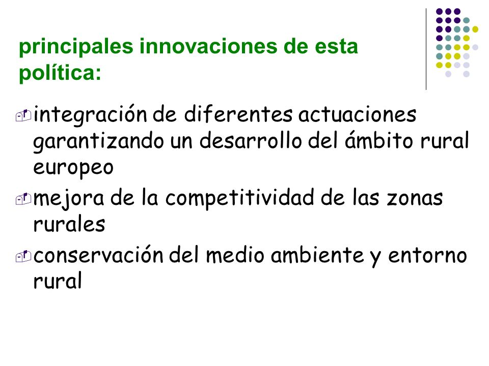 principales innovaciones de esta política: integración de diferentes actuaciones garantizando un desarrollo del ámbito rural europeo mejora de la comp