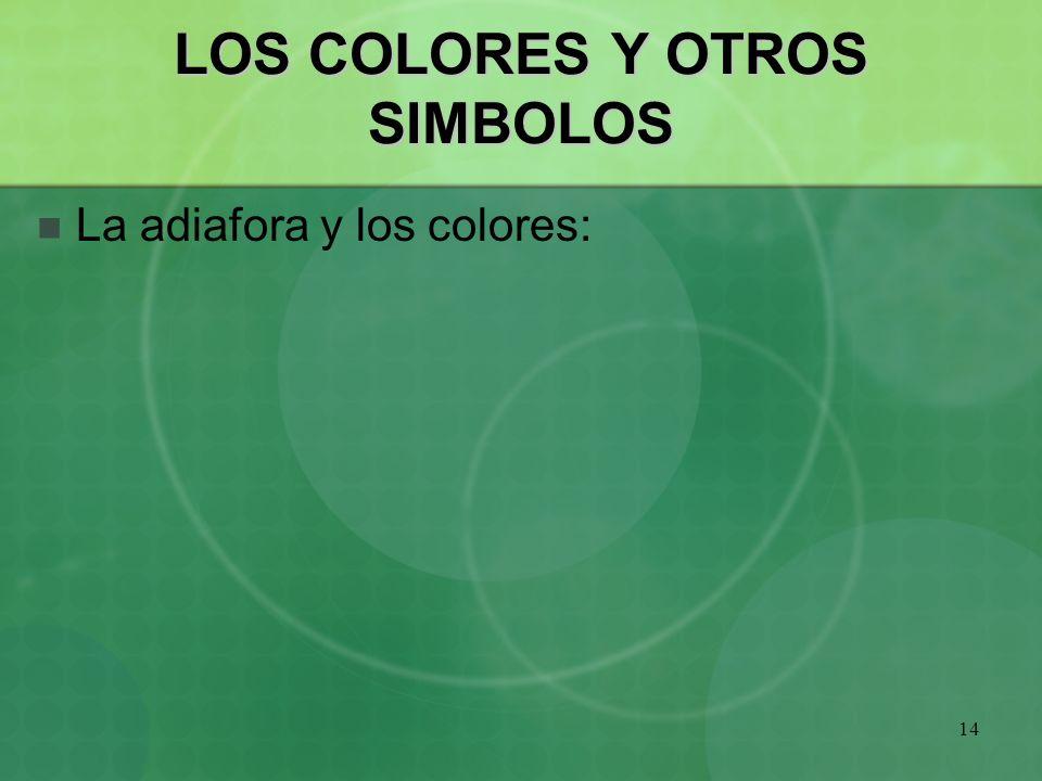 14 LOS COLORES Y OTROS SIMBOLOS La adiafora y los colores: