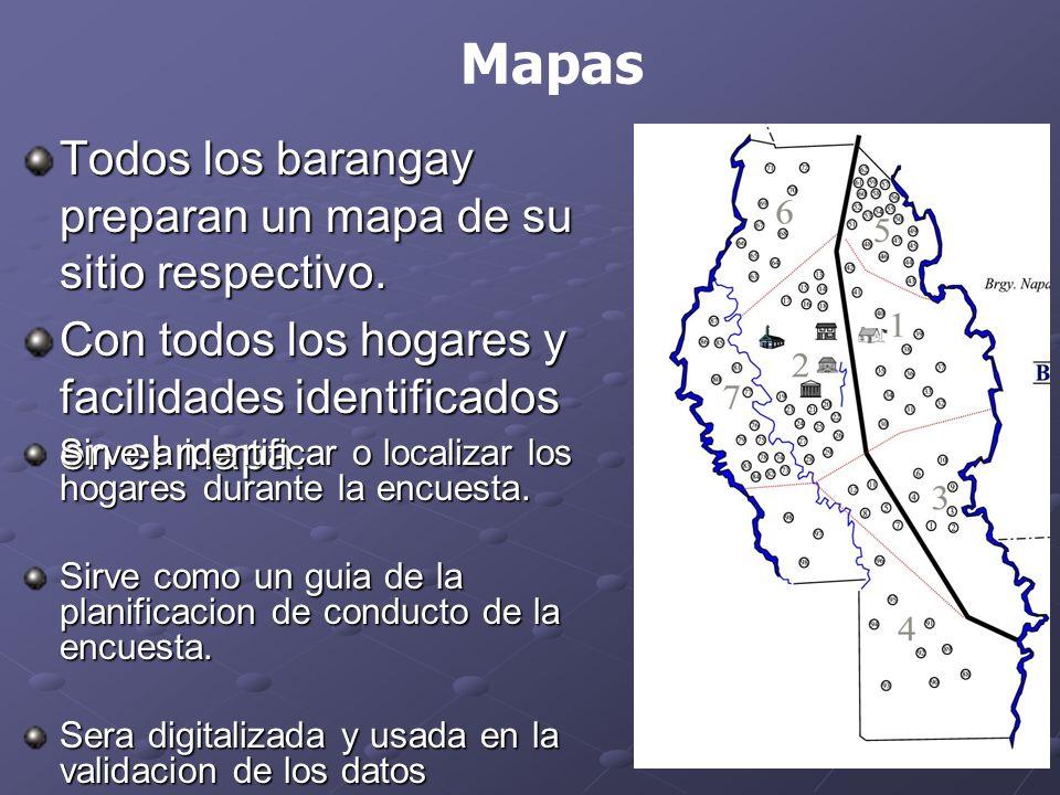 Todos los barangay preparan un mapa de su sitio respectivo.