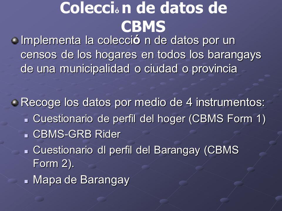 Implementa la colecci ó n de datos por un censos de los hogares en todos los barangays de una municipalidad o ciudad o provincia Recoge los datos por medio de 4 instrumentos: Cuestionario de perfil del hoger (CBMS Form 1) Cuestionario de perfil del hoger (CBMS Form 1) CBMS-GRB Rider CBMS-GRB Rider Cuestionario dl perfil del Barangay (CBMS Form 2).
