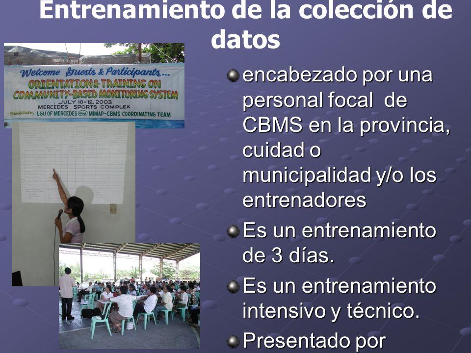 encabezado por una personal focal de CBMS en la provincia, cuidad o municipalidad y/o los entrenadores Es un entrenamiento de 3 días.