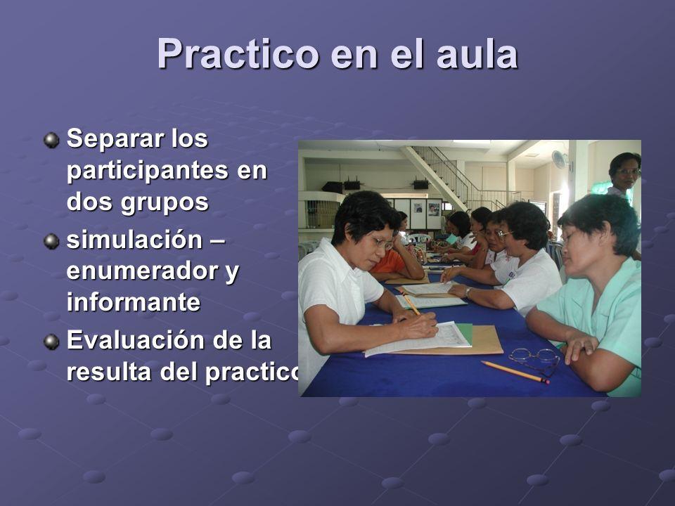 Practico en el aula Separar los participantes en dos grupos simulación – enumerador y informante Evaluación de la resulta del practico