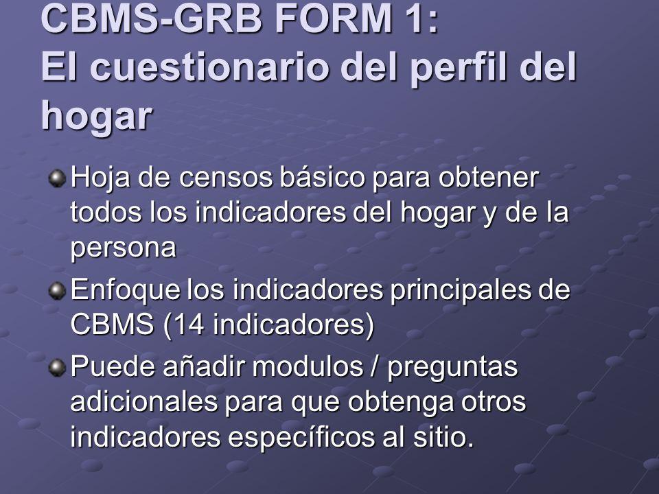 CBMS-GRB FORM 1: El cuestionario del perfil del hogar Hoja de censos básico para obtener todos los indicadores del hogar y de la persona Enfoque los indicadores principales de CBMS (14 indicadores) Puede añadir modulos / preguntas adicionales para que obtenga otros indicadores específicos al sitio.