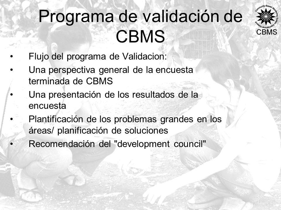 Programa de validación de CBMS Flujo del programa de Validacion: Una perspectiva general de la encuesta terminada de CBMS Una presentación de los resultados de la encuesta Plantificación de los problemas grandes en los áreas/ planificación de soluciones Recomendación del development council