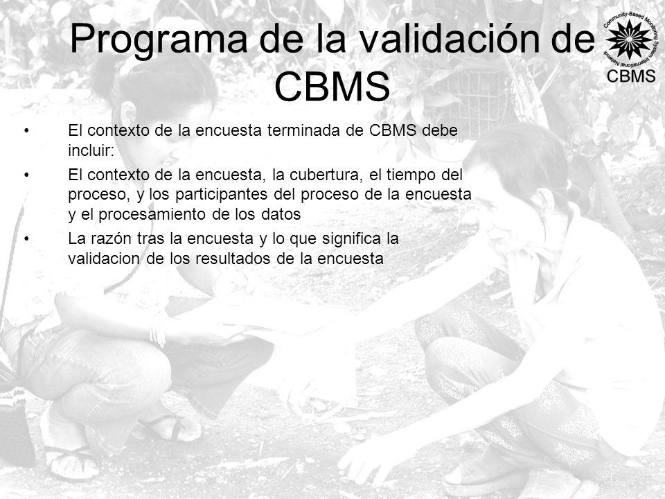 Programa de la validación de CBMS El contexto de la encuesta terminada de CBMS debe incluir: El contexto de la encuesta, la cubertura, el tiempo del proceso, y los participantes del proceso de la encuesta y el procesamiento de los datos La razón tras la encuesta y lo que significa la validacion de los resultados de la encuesta